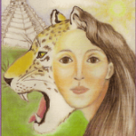 Character, Mandy Sheridan ifrom the book Within The Veil with a Jaguar Juxtoposed with her head