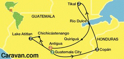 Guatemala and Hondurus Touring Map