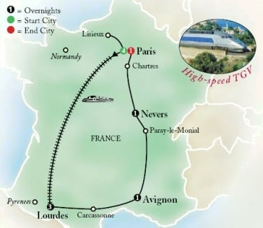 Pilgrimage To The Shrines of France Map